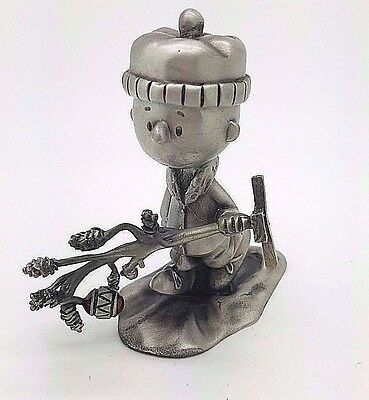 """Charlie Brown & Christmas Tree"" Randi Johnson Ltd Ed Peanuts Pewter Sculpture"