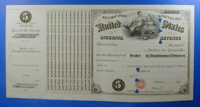 1870s UNITED STATES $5.00 SPECIAL TAX STAMP DEALER MANUFACTURED TOBACCO  WS0006