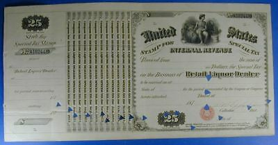 1870 s UNITED STATES $25.00 SPECIAL TAX STAMP RETAIL LIQUOR DEALER        WS0001
