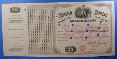 1876 United States $25.00 Special Tax Stamp Retail Liquor Dealer         Ws0024