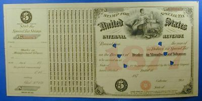 1877 United States $5.00 Special Tax Stamp Dealer Manufactured Tobacco   Ws0037