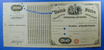 1870s UNITED STATES $200. SPECIAL TAX STAMP RECTIFIER OF DISTILLED SPIRIT WS0004