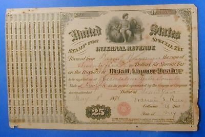 1876 United States $25.00 Special Tax Stamp Retail Liquor Dealer         Ws0026