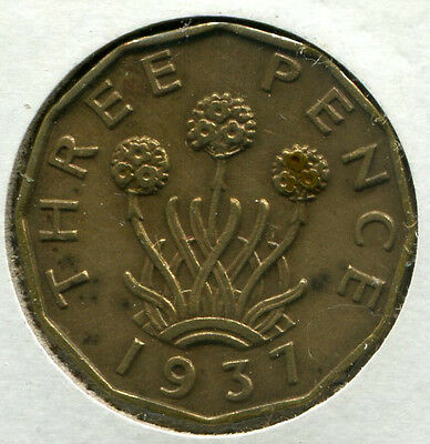 Great Britain - Nickel-Brass Threepence [3-Pence] 1937