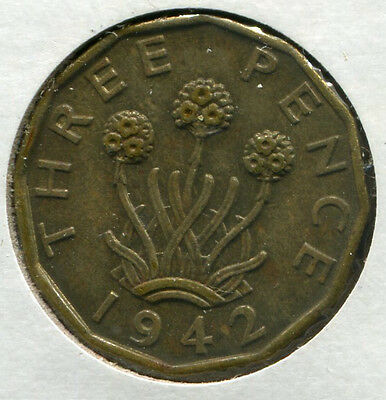 Great Britain - Nickel-Brass Threepence [3-Pence] 1942