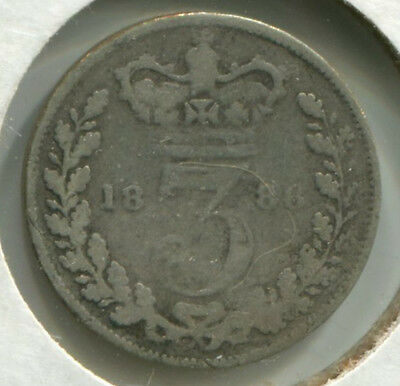 Great Britain - Silver Threepence [3-Pence] 1886