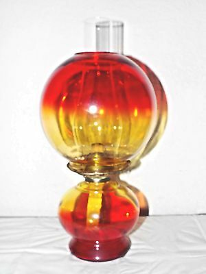 Gone With The Wind Vintage Risdon Red & Yellow Globed Oil Burner Hurricane Lamp