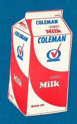 Vintage Coleman Dairy Little Rock Arkansas Milk Carton Business Card