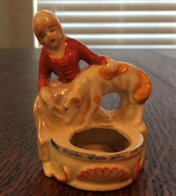Japan Porcelain Figure Woman And Dog At A Well