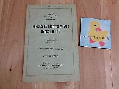 Owners Manual Minnesota Tractor Mower Hydraulic Lift Set Up and Parts List
