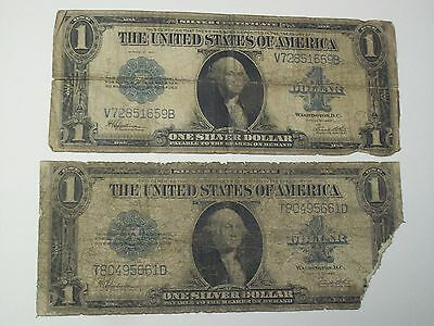 TWO 1923 $1 Silver Certificate Dollar Bills LARGE SIZE