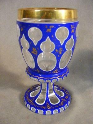 Antique Bohemian Double Overlay Cut Glass Chalice - Cobalt & White
