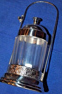 Antique Silverplate and Clear Glass Pickle Castor