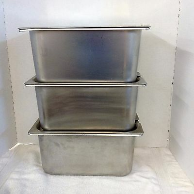 3 Polar Ware 1/3 Size Stainless Steel Steam Prep Table Pans w/ Lids