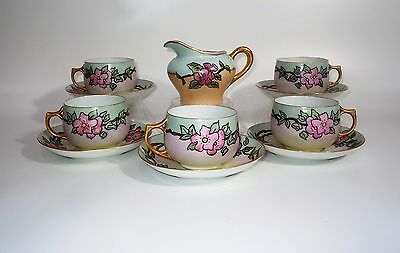KPM Porcelain Rose Decorated Cups,Saucers and Creamer  ELEVEN PIECES