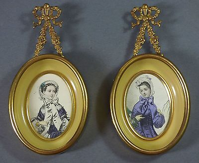 Pair Antique Frames ROSE SWAGS with BOWS  French Fashion Lithos