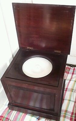 VICTORIAN/EDWARDIAN   BOX COMMODE and Burleigh Ware  commode-pot. POTTY CHAIR?