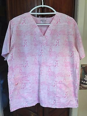 The Bergsma Collection Women's Pink Breast Cancer Awareness Scrub Top Size Med
