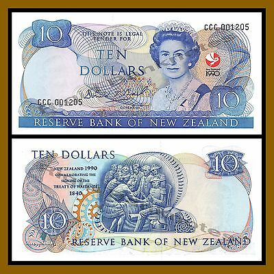 New Zealand 10 Dollars, 1990 P-176 (4 Digit Serial) Comm Queen Elizabeth II Unc