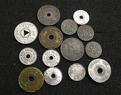 Vintage Tax Token Lot----14 Tokens------free ship