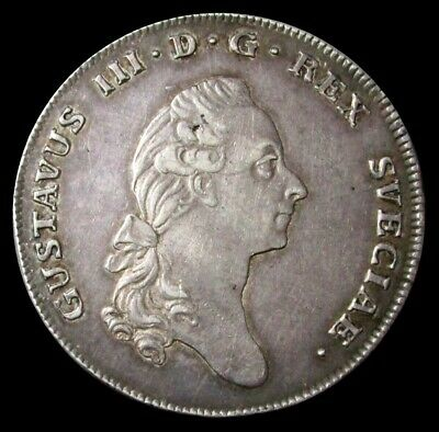 1779 Ol Silver Sweden Riksdaler Gustaf Iii Coin Condition Extremely Fine