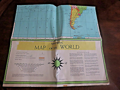 "Large 1958 Book Enterprises Inc. Universal Map Of The World 35.5"" X 48.5"""