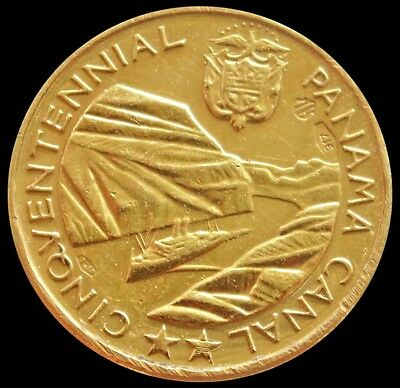 1964 GOLD PANAMA OPENING OF THE PANAMA CANAL ROOSEVELT & JOHNSON 20 mm MEDAL