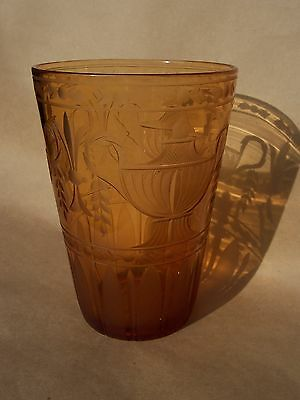 Antique Large Pairpoint Amber Cut Etched Engraved  Glass Flip Vase Urns Swags