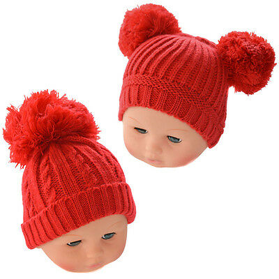 Baby Neutral Red Romany Spanish Style Pom Pom Knitted Hat by Soft Touch