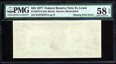 """1977 $20 St.louis """"missing Back Print Error"""" Pmg Choice About Uncirculated 58Epq"""