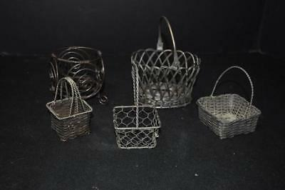 Woven Wire Baskets Vintage Small Size