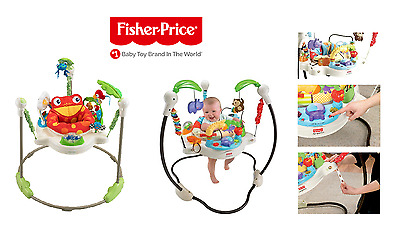 USED FISHER PRICE 2 x Rainforest Zoo Jumperoo Musical Baby Bouncer Jumper Toy