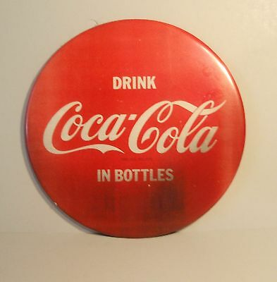 Vintage Coca Cola Display button sign.1960's  Plastic sealed tin under cardboard