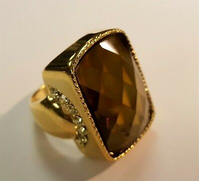Vintage Gold Plated Topaz Acrylic Faceted Rectangle Jewel Rhinestone Ring  S544