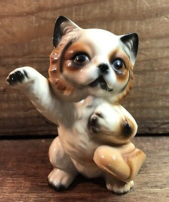 Vintage Tabby Calico Cat with Boot Figurine Made in Japan