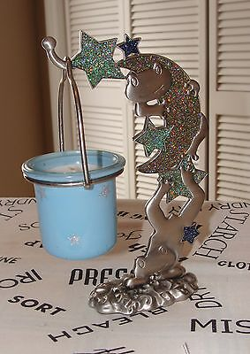 Pewter Frogs & Hanging Candle Holder Figurine, Frogs, Stars & the Moon