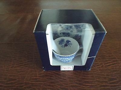 RARE SPODE Blue Room Collection Blue Italian Floral Tea Cup and Saucer NIB