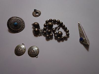 Native American Indian Scrap Sterling Silver Pearls Beads Jewelry Southwest Lot