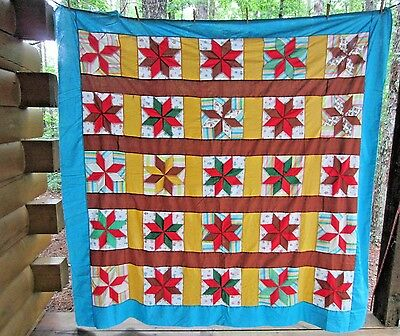 "78""x79""  Vintage 1940's  Star Antique Quilt Top Patchwork Hand Pieced"