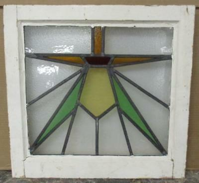 "OLD ENGLISH LEADED STAINED GLASS WINDOW Brilliant Geometric 18.5"" x 17.5"""