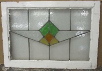 "MID SIZED OLD ENGLISH LEADED STAINED GLASS WINDOW Immaculate Geo. 27"" x 19.25"""