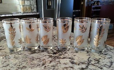 Libbey Gold Leaf Leaves Frosted Tumbler Glasses Mid Century Modern Set of 6