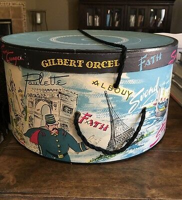 Vintage GILBERT ORCEL Paris French Hat Box Travel Scenes Eiffel Tower