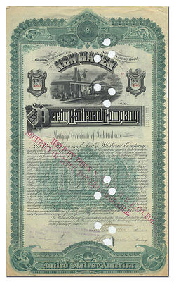 New Haven and Derby Railroad Company Bond Certificate (Connecticut, 1888)