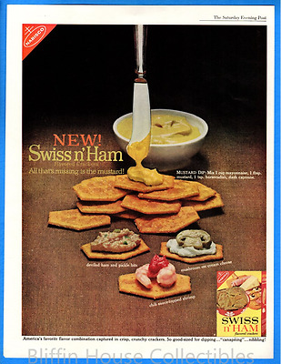 Vintage 1962 Nabisco Swiss n' Ham Flavored Crackers Original Print Ad