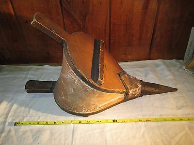"""Antique Forge Fireplace Bellows Large 21"""" Primitive Hearth Wood & Leather Works"""
