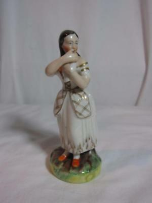 Antique Staffordshire Figurine Girl with Dove 6 Inches Tall