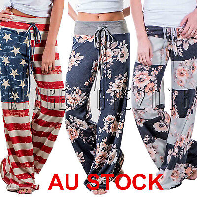 Womens Ladies Boho Wide Leg Trousers Floral Printed Palazzo Pants Plus Size
