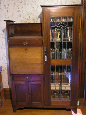 Antique Leadlight Bookcase Display Secretaire Bureau Desk
