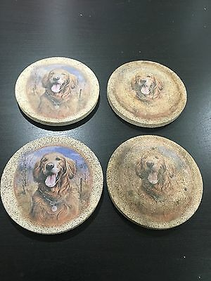 Set Of 4 Golden Retriever Coasters Thirtystone Canine Dogs